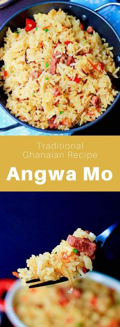 Ghana: Angwa Mo - Rene Llewellyn - Ghana: Angwa Mo Angwa Mo (or angwamu) is a delicious traditional Ghanaian dish consisting of fried rice that is often cooked with salted beef (tolo beef). Ghanaian Food, Nigerian Food, Strudel, New York Sour, Macedonian Food, West African Food, Homemade Dinner Rolls, Mediterranean Dishes, Treats