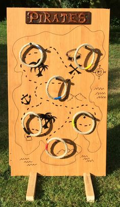 Great idea for a ring toss pirates game. Great idea for a ring toss pirates game. Pirate Halloween, Pirate Day, Pirate Birthday, Pirate Theme, Games For Kids, Diy For Kids, Activities For Kids, Pirate Games, Ring Toss