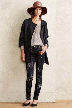 Cozy Look (minus the hat)   7 For All Mankind Floral Skinny Jeans   Anthropologie