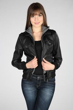 Faux Leather Bomber Jacket with Zip-out Knit Hood (from Eclipse)