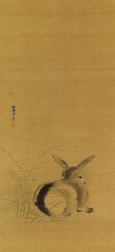 Rabbit in Japanese pampas grass. Kano Tanyu  (1602–1674) . Japanese hanging scroll painting.