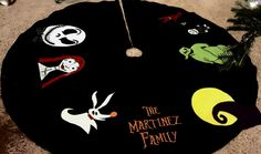 Our Nightmare before Christmas tree skirt is the best! Our Nightmare before Christmas tree skirt is the best! Disney Christmas Tree Skirt, Christmas Time Is Here, Diy Christmas Tree, Christmas Love, Nightmare Before Christmas Decorations, Nightmare Before Christmas Halloween, Halloween Trees, Halloween Christmas, Halloween Crafts
