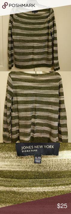 A Little Shimmer Sheer Jones New York sweater with silver flecks. Gently worn. Jones New York Sweaters