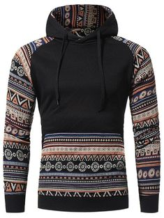 Tribal Print Knitted Panel Pullover Fleece Hoodie
