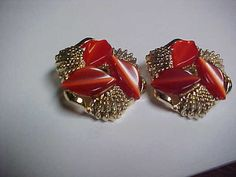 nice vintage clip on ear rings with orange sets in by designer2, $10.00