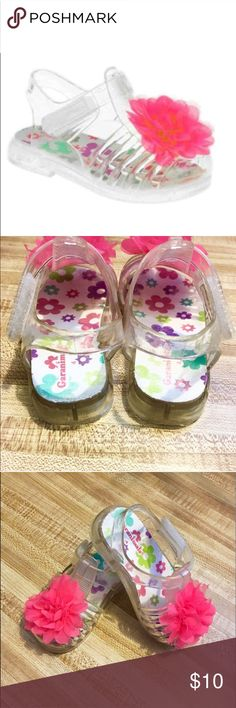 """🎉HP🎉 Jelly Shoe Sandals w/ Velcro & Pink Flower 🎉 HOST PICK 🎉 8.3.17 • """"EVERYTHING KIDS PARTY"""" 🎉 🌺Jelly Shoe Sandals w/ Velcro Closure • Open heel • Closed toe • Big Flower on the toe • Super cute • I washed/scrubbed the insides w/ a little brush so they are a little worn on the inside but they are very clean, as seen in the photos • I think any flaws can be seen but if you have any questions, please ask • Still in VERY GOOD CONDITION🌺💕 (Size 4 Toddler) Shoes Sandals & Flip Flops"""