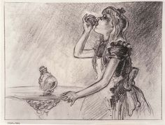 Vintage Disney Alice in Wonderland: David Hall Story Art Stills - Alice and the Bottle