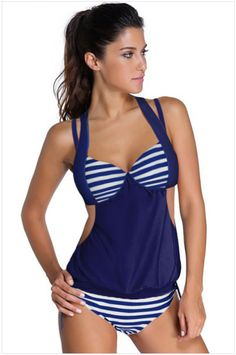 ==> [Free Shipping] Buy Best 2017 Swimwear Women Push Up Two Pieces Beach Wear Black Blue Navy Gray Splice Striped Halter Tankini Swimsuits 41944 Online with LOWEST Price | 32812387625
