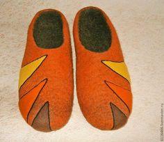 Купить домашние валяные тапочки из натуральной шерсти Рыжики - рыжий, домашние тапочки, домашняя обувь