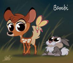 Bambi and Thumper CHIBI - walt-disney-characters Fan Art Disney Pixar, Disney Fan Art, Disney Animation, Disney E Dreamworks, Disney Amor, Disney Movie Characters, Disney Cartoons, Disney Magic, Disney Kawaii