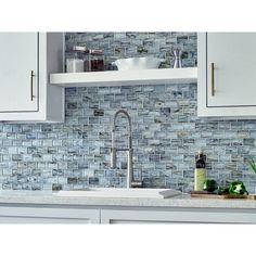 Aurora Sky 2 x 3 in. Brick Glass Mosaic - 12 x 12 - 100550631 Stone Backsplash, Mosaic Backsplash, Glass Mosaic Tiles, Kitchen Backsplash, Backsplash Ideas, Wall Tiles, Tile Mosaics, Tile Ideas, Countertop