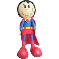 Boneco Super Homem para topo de bolo, em E.V.A.. <br> <br>Consulte-nos para personalizar o nome da criança, no mesmo material e lembrancinhas.