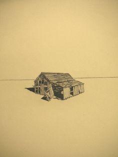 Felicity Warwick - 'untitled 2' barn series - ink on paper monoprint - 68 x 49 cm - 2007