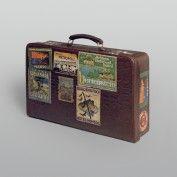 Kleiner Reise #koffer mit Hotelaufklebern    Herstellungsort unbekannt, 1. Drittel des 20. Jahrhunderts #Krokodilleder über #Karton; Eisen (Schlösser); Moiréseide (Futter) H. 27 cm (mit Traghenkel); B. 40 cm, T. 10 cm // ENGLISH: #Valise with #hotel #stickers  Place of manufacture unknown, first third of 20th century #Crocodile #leather on cardboard, iron (locks), moiré silk (lining) H 27 cm (with handle); W 40 cm, D 10 cm