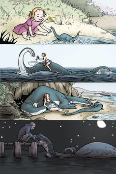 The Little Girl and the Sea Monster -- (If anyone knows who the original artist is, please let me know!)
