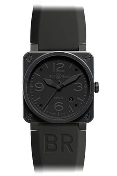 Bell & Ross Aviation Phantom - An aviation watch for professional use, the Phantom was designed in reference to stealth bombers- undetectable, yet never totally invisible. The integral black dial is discretely legible.