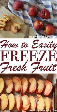 It's easy to preserve summer fruit in the freezer. Check out this post for easy step-by-step instructions for freezing peaches, strawberries, blueberries or nectarines with NO sugar needed! Perfect fo (Diy Food Step By Step) Freezing Vegetables, Freezing Fruit, Fruits And Veggies, Frozen Fruit, Frozen Meals, Fresh Fruit, Strawberry Blueberry, Raspberry Smoothie, Smoothies