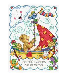 Create a gorgeous cross stitched sampler that you can present as a baby shower gift, using the Tobin Sail Away Baby Stamped Cross Stitch Sampler Kit 11 x 14. This baby sampler cross stitch kit contain