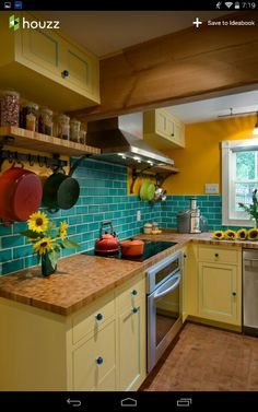 Trendy Kitchen Colors For Walls Turquoise Yellow 69 Ideas. Trendy Kitchen Colors For Walls Turquoise Yellow 69 Ideas Kitchen Redo, Kitchen Backsplash, New Kitchen, Kitchen Remodel, Kitchen Yellow, Backsplash Ideas, Farmhouse Remodel, Bright Kitchen Colors, Kitchen Paint