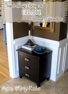 DIY:: Super Easy Way to Update Wood Stained Furniture by @Dawn Glass Chicks Rule