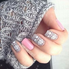 Winter ~ Pink & Gray ~ nails
