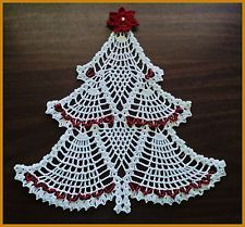 New Crochet White Christmas Tree Doily w/ Red Bead Trim