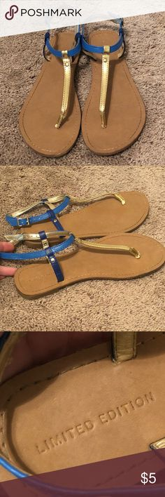 """Blue and gold sandals Super cute blue and gold sandals from Target. Simple design and neutral colors makes them the perfect """"go to"""" sandal for spring! Shoes are in great used condition. The bottoms are discolored from walking on pavement, but show minimal wear otherwise. Also, the gold color is rubbed off a bit on the part that goes between the toes (just the coloring, the material itself is still firmly attached to shoe). Shoes Sandals"""
