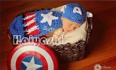 Captain America Superman Baby Gril Boys Costume Crochet Knit Outfits Photo Props #Handmade