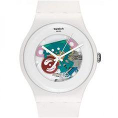 8af956b47e7 Swatch Women s Originals SUOW100 White Plastic Quartz Watch with White Dial