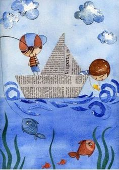 Could use pages from old books or dust jackets to create the boats Art Drawings For Kids, Drawing For Kids, Art For Kids, Crafts For Kids, Summer Crafts, Summer Art, Newspaper Crafts, Newspaper Drawing, Sea Crafts