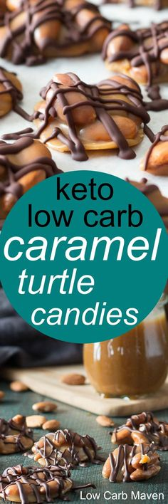 low carb turtles are made with sugar free caramel and almonds making them the perfect keto treat or keto candy.These low carb turtles are made with sugar free caramel and almonds making them the perfect keto treat or keto candy. Low Carb Candy, Keto Candy, Low Carb Deserts, Low Carb Sweets, Keto Fat, Low Carb Keto, Keto Cookies, Almond Cookies, Pumpkin Cookies