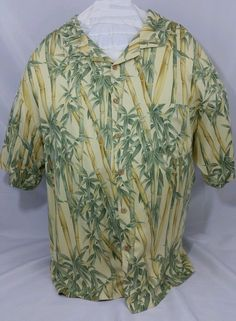 721e6833 Jamaica Jaxx 100% Silk XXL 2XL Hawaiian Shirt Yellow Green Bamboo  Embroidered $32.99 #JamaicaJaxx