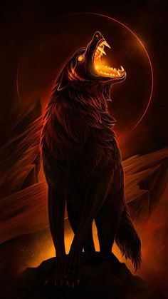Fenrix is lunar eclipse wolf. He is a death wolf and old Omega of the pack. He is expelled. Fenrix is lunar eclipse wolf. He is a death wolf and old Omega of the pack. He is expelled. Dark Fantasy Art, Fantasy Wolf, Final Fantasy, Demon Wolf, Wolf Artwork, Werewolf Art, Wolf Spirit Animal, Mythical Creatures Art, Magical Creatures