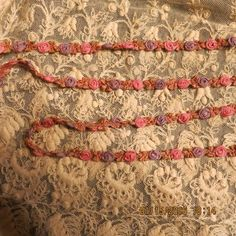 ANTIQUE  FRENCH  ROSETTE SILK GARLAND ROSE  RARE .PLUM OMBRE DOLLS