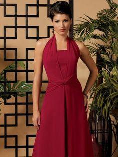 Sheath / Column Halter  Sleeveless Floor-length Chiffon Red Prom Dress / Evening Dress