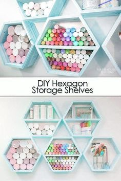 Woodworking Projects Diy Man Cave Learn how to make these DIY Hexagon storage shelves using easy woodworking plans. Upgrade your craft room storage and organize your crafts in a beautiful way. Full photo tutorial and plans in this post along with an itemized supply list. #woodworking #diyproject #diyshelves #diycraftroom #craftroomstorage #craftroomorganization.Woodworking Projects Diy Man Cave  Learn how to make these DIY Hexagon storage shelves using easy woodworking plans. Upgrade your… Awesome Woodworking Ideas, Woodworking Shop Layout, Woodworking Projects That Sell, Woodworking Patterns, Router Woodworking, Fine Woodworking, Craft Room Storage, Diy Storage Shelves, Supply List