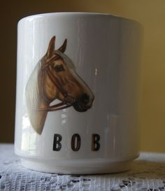 Vintage Coffee Mug, Bob, Horse Head, Colorful, Kitschy Name Collectible, Father's Day, Birthday Gift, Gift for Him by BrindleDogVintage on Etsy