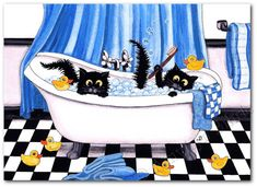 Rubber Ducks Bubble Bath Black Cat ArT - ArT Prints or ACEO by Bihrle ck279