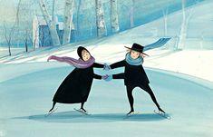 Winter Dancers Giclée  $70, IS: 6 x 9-5/16 ins.  #pbuckleymoss #patmoss #Mossart #patbuckleymoss #snow #art #artwork #amish #skating #skaters #children #playinginthesnow #snowdancers