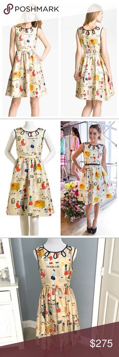 "Kate Spade♠️Garance Dore Rainey Dress/Ltd Edition Perfect for Easter!  Pristine preloved condition, no stains or marks, from 2012 collaboration with renowned French Photographer/Blogger, Garance Dore.  This beauty is adorned with a playful illustration featuring her signature notes and drawings. 77% Cotton/ 23% silk. Looped piping frames teardrop cutouts at the neckline. Hidden side zip closure. Chest appx 19"" flat, waist measures 15.25"", length 40"" from shoulder.  Fully lined. Full skirt…"