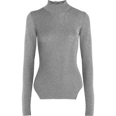 Mugler Metallic ribbed stretch-knit turtleneck sweater (€430) ❤ liked on Polyvore featuring tops, sweaters, shirts, jumpers, silver, turtleneck shirt, metallic shirt, turtleneck top, turtle neck sweater and side cut shirts