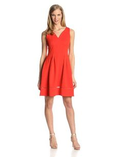 Taylor Dresses Women's Sleeveless V Neck Flare Dress on hotgirlsclothes.com