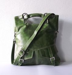 BROOK in olive green leather handbag / shoulder bag / tftateam. artoncrafts' shop on etsy. $135