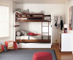 Modern bunk bed plans Bunk beds are a double design whammy when it comes to kids rooms They encourage imaginative play and save space in one fell swoop Bunk Beds Small Room, Girls Bunk Beds, Wooden Bunk Beds, Bunk Beds With Stairs, Cool Bunk Beds, Kid Beds, Small Rooms, Loft Beds, Small Spaces
