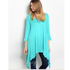 MAKE AN OFFER This cool 3/4 sleeve tunic top features an irregular hemline and loose fit. Perfect with a pair of leggings!  65% rayon 35% viscose. L31 B14 W38 in size S.  S  2 Please comment size needed below.  PLEASE DO NOT BUY THIS LISTING. Allow me to make your separate listing for you or help you make a bundle ❤️.  NO PAYPAL NO TRADES. Price is FIRM unless bundled. All sales final. Tops Tunics