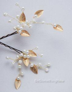 Gold Leaf Bridal Hair Pins Wedding Hair by BeSomethingNew on Etsy