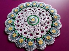 Hand Crocheted Doily  Country Blue and Yellow by NortherNights, $10.00