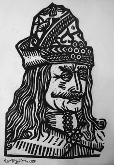 Vlad the Impaler Dracula Medieval Woodcut Print by stampedepress, $25.00 Really think he'd look ridiculous as a vampire with that huge mustache...