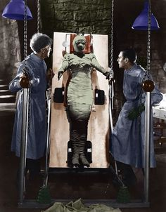 """Colorized photo from """"The Bride of Frankenstein"""""""