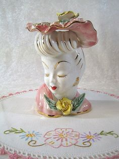 Beautiful Lefton 50s Pink and Yellow Rose Lady Head by BBBDesigns.